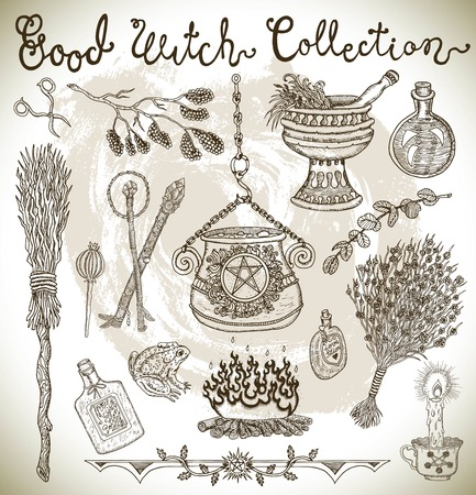 Halloween design background with witch objects - pot, broomstick, magic herbs, wands, etc. Graphic vector engraved illustration with design elements for posters, invitations Illustration
