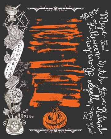 Halloween poster with scary witch objects, pumpkin head and lettering on texture background. Graphic vector engraved illustration with design elements for invitations, banner