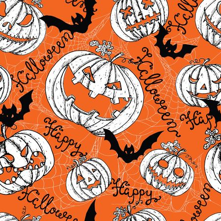 Halloween seamless pattern with scary pumpkin heads jack lantern, bats and spider web. Graphic vector engraved illustration Illustration