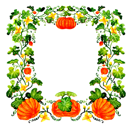 Watercolor Halloween frame with pumpkins isolated on white background. Hand drawn illustration with design elements