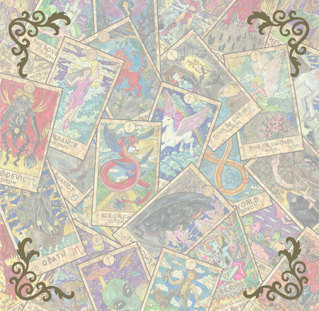 Vintage frame with Tarot cards in pile and corner patterns. Esoteric and occult illustration with copy space, wicca and pagan concept