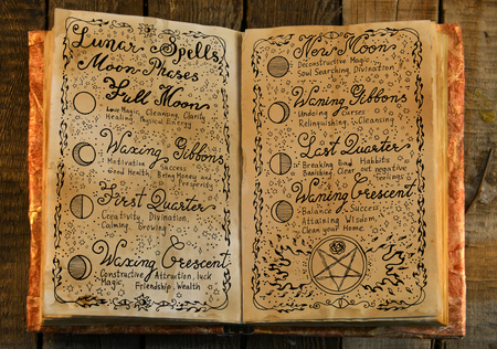 Old book with hand written lunar magic spells. Occult, esoteric, divination and wicca concept. Vintage background with moon phases and hand writing text on old pages