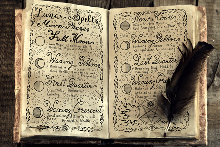 Open book with lunar magic spells and quill. Occult, esoteric, divination and wicca concept. Vintage background with moon phases and hand writing text on old pages