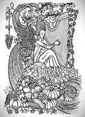 Beautiful musician queen with arpa against the background of abundance horn with autumn harvest. September month graphic concept. Hand drawn engraved illustration Illustration