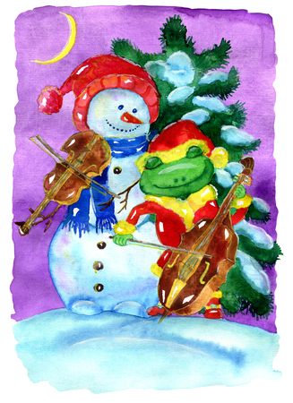 Friends snowman in Santa hat and frog in Santa costume playing Christmas music against conifer. Hand drawn illustration for poster, greeting card, invitation