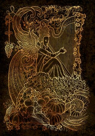 9 月月グラフィック コンセプトがつながっています。手は、紙の質感で刻まれた図を描画します。秋の収穫の豊かなホーンの背景とアルパで美しい音楽家女王 写真素材 - 91195947