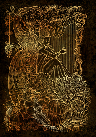 September month graphic concept. Hand drawn engraved illustration on paper texture. Beautiful musician queen with arpa against the background of abundance horn with autumn harvest