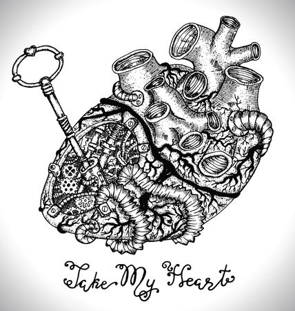 Design set with human heart with mechanical parts, key and text. Graphic collection for antique decorations, card. Hand drawn vintage vector illustration with Valentine's Day concept