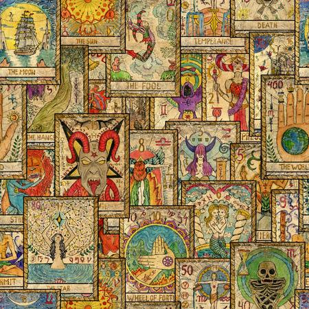 Naadloos patroon met oude Tarotkaarten in verticale lay-out. Occult, esoterisch, waarzeggerij en wicca-concept. Mystic en vintage astrologie achtergrond voor antieke decoraties, scrapbooking