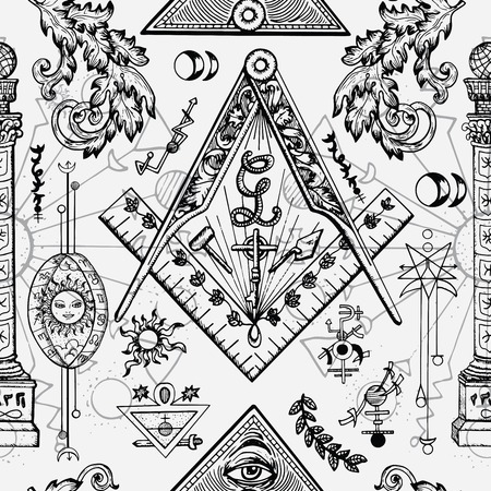 Seamless background with mason and mysterious symbols. Freemasonry and secret societies emblems, occult and spiritual mystic drawings.