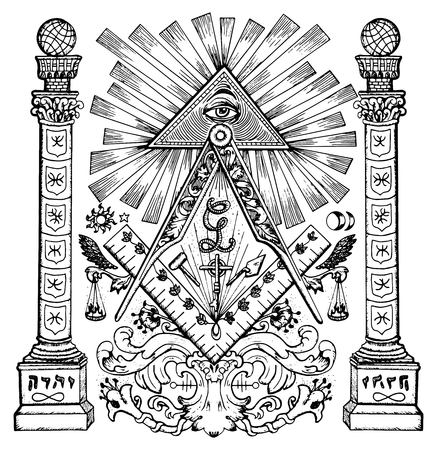Graphic illustration with mason mysterious symbols. Freemasonry and secret societies emblems, occult and spiritual mystic drawings.