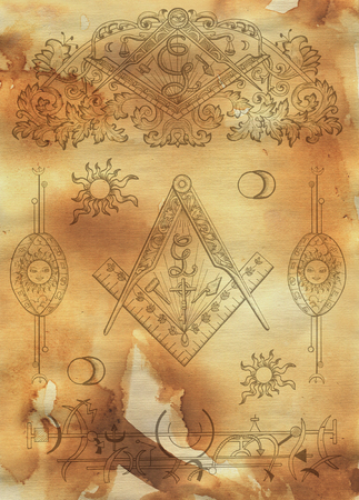 Scrapbook design background with mason and mystic symbols on texture. Freemasonry and secret societies emblems, occult and spiritual mystic drawings. Tattoo design, new world order