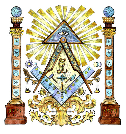 Watercolor illustration with freemason and mysterious symbols isolated on white. Secret societies emblems, occult and spiritual mystic drawings. Tattoo fantasy design, new world order Archivio Fotografico