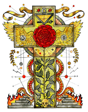 Watercolor Illustration With Rose Cross And Mystic Symbols Isolated