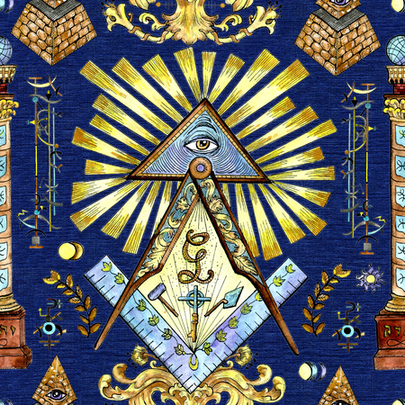 Seamless background with mason and mystic symbols on blue. Freemasonry and secret societies emblems, occult and spiritual mystic drawings. Tattoo fantasy design, new world order Stock Photo