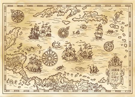 Ancient pirate map of the Caribbean Sea with ships, islands and fantasy creatures. Pirate adventures, treasure hunt and old transportation concept. Hand drawn vector illustration, vintage background Ilustração