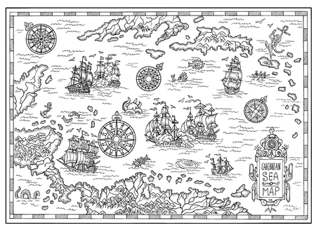 Black and white pirate map of the Caribbean Sea with old ships, islands and fantasy creatures. Pirate adventures, treasure hunt and old transportation concept. Hand drawn illustration, vintage background Foto de archivo