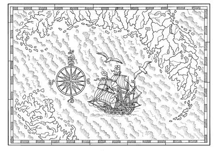 Mappa del mare in bianco e nero con la vecchia nave a vela e la bussola. Avventure pirata, caccia al tesoro e vecchio concetto di trasporto. Illustrazione disegnata a mano, sfondo vintage Archivio Fotografico - 94141281