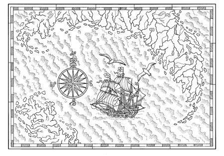 Black and white sea map with old sailing ship and compass. Pirate adventures, treasure hunt and old transportation concept. Hand drawn illustration, vintage background