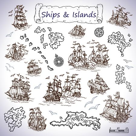 Design set with old sailing ships, treasure islands, compasses. Pirate adventures, treasure hunt and old transportation concept. Hand drawn vector illustration, vintage background Vectores