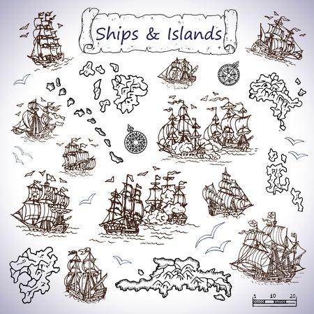 Design set with old sailing ships, treasure islands, compasses. Pirate adventures, treasure hunt and old transportation concept. Hand drawn vector illustration, vintage background Illustration
