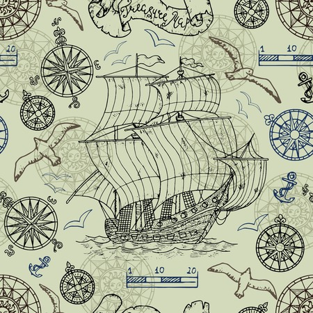 Seamless background with nautical elements, old vessel, compass, gulls. Pirate adventures, treasure hunt and old transportation concept. Hand drawn vector illustration, vintage background