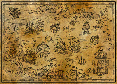 Old map of the Caribbean Sea with decorative and fantasy elements, pirate sailing ships, compass. Pirate adventures, treasure hunt and old transportation concept. Hand drawn engraved illustration, vintage background