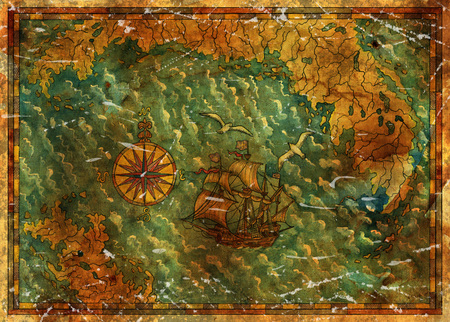 Antique pirate treasures map with old ship, gulls and continents. Pirate adventures, treasure hunt and old transportation concept. Vintage hand drawn illustration