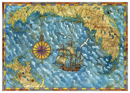Pirate treasures map with old ship, compass, gulls and islands. Pirate adventures, treasure hunt and old transportation concept. Vintage hand drawn illustration