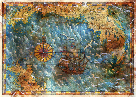 Ancient map with treasures hunt concept, old pirate ship and compass. Pirate adventures, treasure hunt and old transportation concept. Vintage hand drawn illustration
