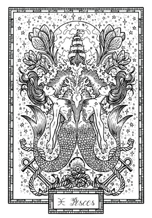 Zodiac sign Fish of Pisces with crocus flower, old ship and happy numbers. Hand drawn fantasy graphic vector illustration in frame. Black and white doodle mystic drawing with engraved horoscope symbol