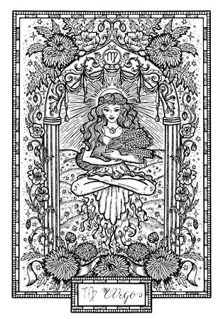 Zodiac sign Virgin or Virgo with asters and poppy flowers and lucky numbers. Hand drawn fantasy graphic vector illustration in frame. Black and white doodle mystic drawing with engraved horoscope symbol