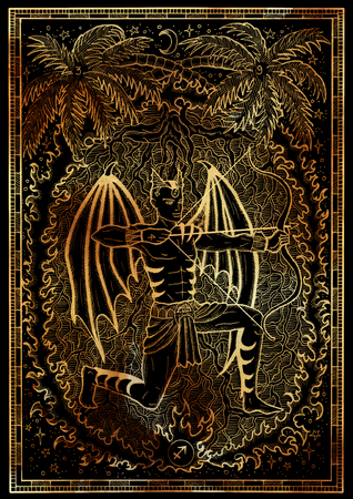 Zodiac sign Archer or Sagittarius on black texture background. Hand drawn fantasy graphic illustration in frame. Hand drawn fantasy graphic illustration in frame. Occult mystic drawing with engraved horoscope symbol
