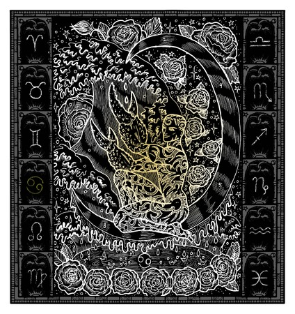 White silhouette of fantasy Zodiac sign Cancer in gothic frame on black. Hand drawn engraved illustration Vectores
