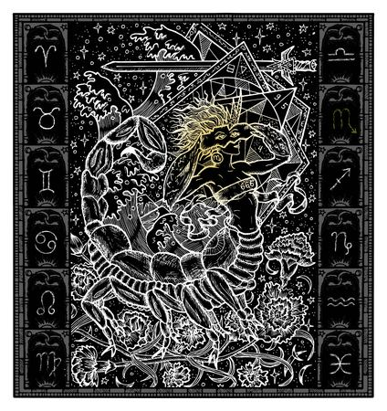 White silhouette of fantasy Zodiac sign Scorpio in gothic frame on black. Hand drawn engraved illustration Vectores