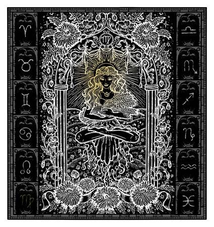 White silhouette of fantasy Zodiac sign Virgo in gothic frame on black. Hand drawn engraved illustration