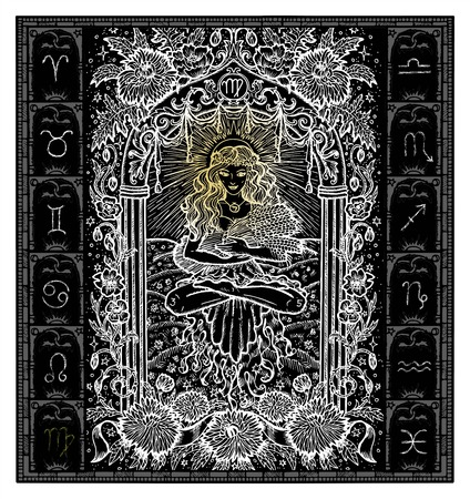 White silhouette of fantasy Zodiac sign Virgo in gothic frame on black. Hand drawn engraved illustration