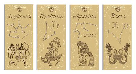 Set with Archer, Capricorn, Aquarius and Pisces Zodiac symbols banners on texture. Hand drawn graphic illustration. Template background, suitable for print, card, poster, bookmark Illustration