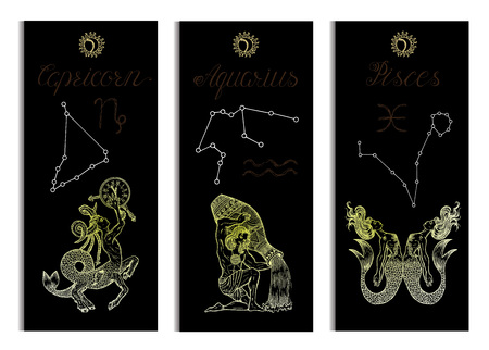 Set with Capricorn, Aquarius and Pisces Zodiac symbols banners on black. Hand drawn vector illustration. Template background, suitable for print, card, poster, bookmark Illustration