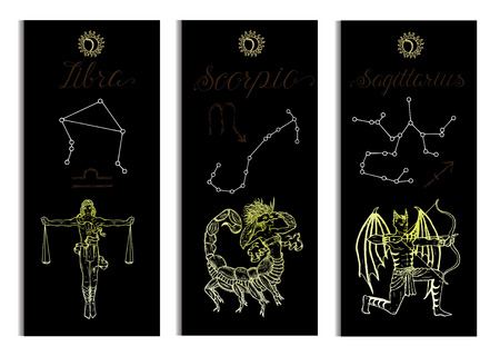 Set with Scales, Scorpio and Archer Zodiac symbols banners on black. Hand drawn vector illustration. Template background, suitable for print, card, poster, bookmark Illustration
