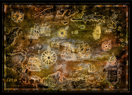 Treasure map of Caribbean Sea with pirate sailboats, compasses, islands on black. Decorative antique background with nautical chart, adventure treasures hunt concept, collage with hand drawn illustration Archivio Fotografico
