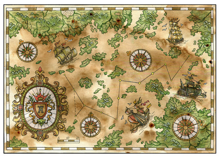 Antique pirate treasures map with old ships, islands, banner and compasses. Decorative ancient background with nautical chart, adventure treasures hunt concept, watercolor hand drawn illustration Archivio Fotografico