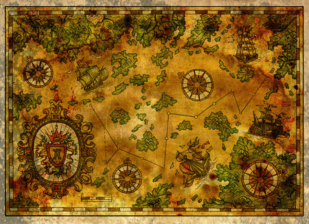 Ancient pirate map with old pirate sailboats, treasure islands and baroque banner. Decorative antique background with nautical chart, adventure treasures hunt concept, watercolor hand drawn illustration Stock Photo