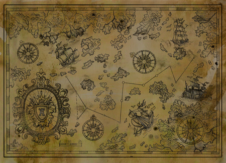 Antique map with baroque banner, compasses, old pirate ships on paper texture. Decorative antique nautical chart, collage with hand drawn illustration Archivio Fotografico