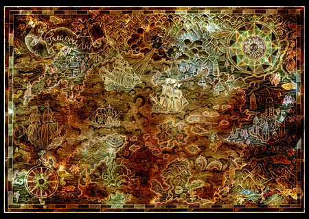 Ancient treasure island map with fantasy land, pirate ships, mythological creatures on texture. Decorative antique nautical chart, collage with hand drawn illustration