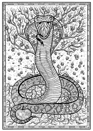 Snake Symbol With Eve Adam Tree Of Knowledge And Flowers In