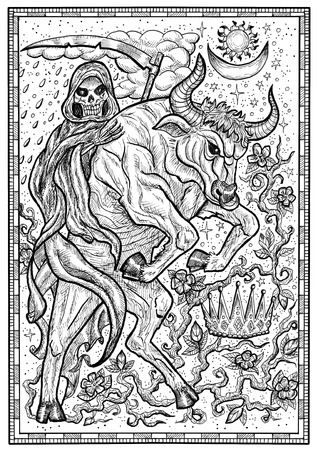 Bull symbol in frame. Ox with death skeleton, crown and mystic signs. Fantasy engraved illustration for t-shirt, print, card, tattoo design. Zodiac animals of eastern calendar, mysterious monochrome background