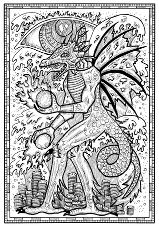 Dragon symbol in frame. Monster with demon wings, waves, fire balls and treasures against big eye. Fantasy engraved illustration for t-shirt, print, card, tattoo design. Zodiac animals of eastern calendar, mysterious monochrome background Stock Photo