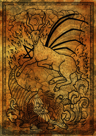 Goat symbol with horn of abundance, hell fire and diabolic sign - pentagram on antique texture background. Fantasy engraved illustration. Zodiac animals of eastern calendar, mysterious concept Stock Photo