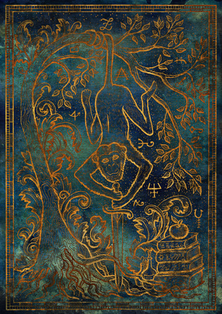 Golden Monkey symbol with sword, books, baroque decorated tree and mystic signs on blue texture background. Fantasy engraved illustration. Zodiac animals of eastern calendar, mysterious concept